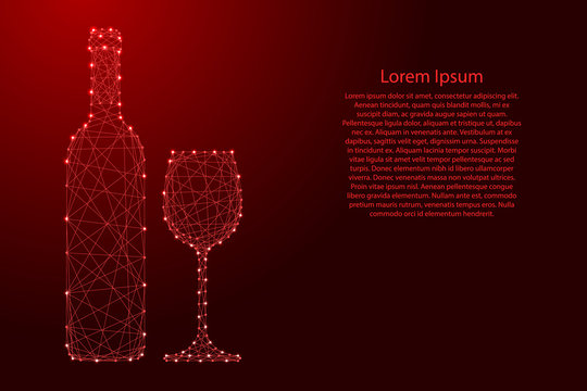 Wine bottle and glass from futuristic polygonal red lines and glowing stars for banner, poster, greeting card. Vector illustration.