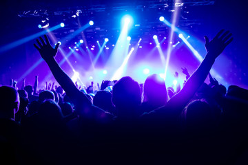 Silhouette of man with raised hands on music concert Fotomurales