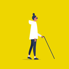 Young female sightless character wearing dark shades and holding a cane. Concept. Flat editable vector illustration, clip art