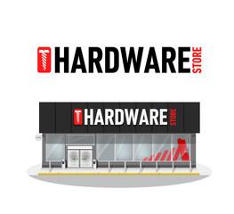 Vector illustration of hardware store building. Hardware logo. Commercial Business Building