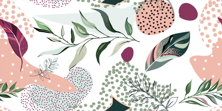 abstract botanic seamless pattern with exotic  leaves, hand drawn background. pattern. Tile with tropical leaf