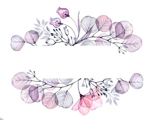 Watercolor Transparent floral arrangement of roses buds leaves branches in pastel pink, grey, blue, violet, purple vintage ornament bouquet corner, x-ray, wedding design, stationery print, frame
