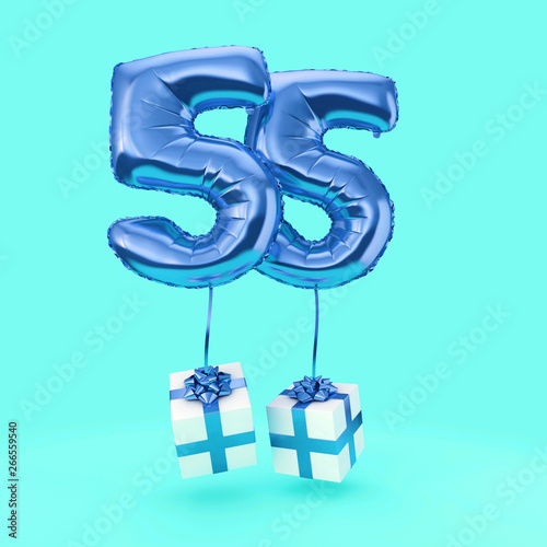 Number 55 Birthday Celebration Foil Helium Balloon With Presents 3D