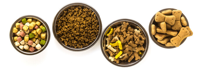 banner of pet food in bowls and toys isolated on white background Wall mural