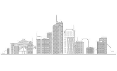 Cityscape Illustration. Urban skyline with skyscrapers and tall buildings Wall mural