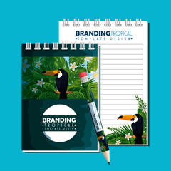 tropical design of notebooks and pen product