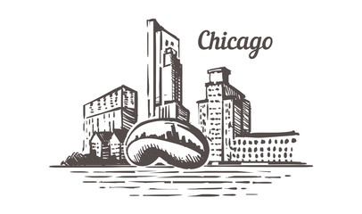 Fotomurales - Chicago sketch skyline. Illinois, Chicago hand drawn vector illustration.