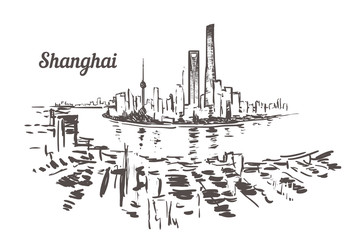 Fotomurales - Shanghai skyline drawn sketch. Shanghai vector illustration