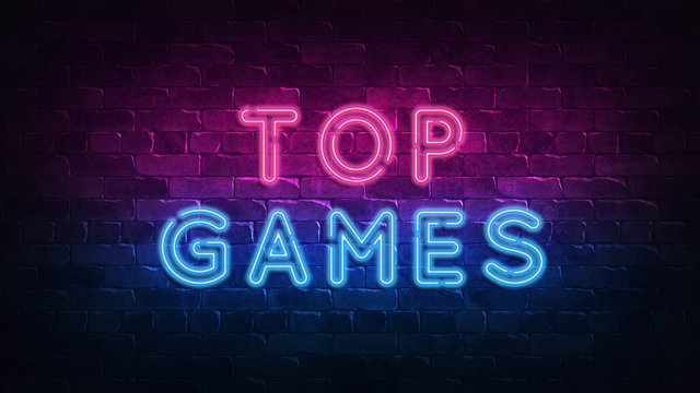 top games neon sign, great design for any purposes. 3d render. Modern design. Retro emblem design. Slot neon sign. Decoration element. Futuristic concept. casino element.
