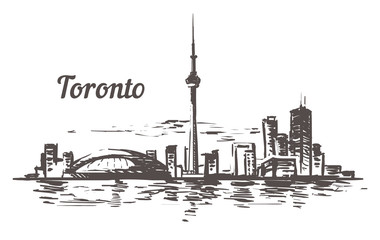 Fotomurales - Toronto sketch skyline. Toronto, Canada hand drawn vector illustration.