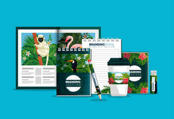 business brochure with plastic cup and books with tropical design