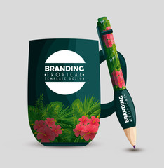 tropical design of coffee cup and pencil
