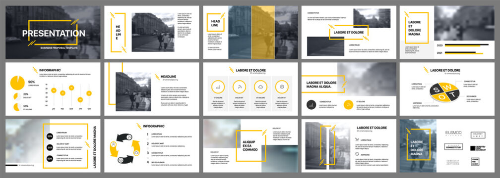 Presentation template. Yellow elements for slide presentations on a white background. Use also as a flyer, brochure, corporate report, marketing, advertising, annual report, banner.