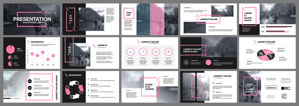 Presentation template. Pink elements for slide presentations on a white background. Use also as a flyer, brochure, corporate report, marketing, advertising, annual report, banner.