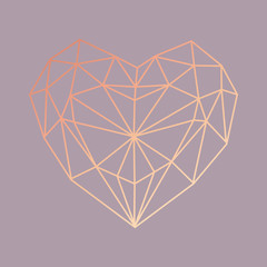 Abstract geometric pink heart vector illustration