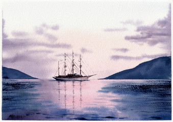 Watercolor illustration of sea and sailboat at sunset or sunrise. Hand drawn picture about sailing, yachting, seaside landscape. Purple, lilac, pink background, wallpaper. Postcard in watercolor style