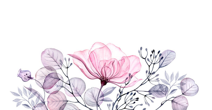 Watercolor Transparent floral arrangement of roses buds leaves branches in pastel pink, grey, blue, violet, purple vintage ornament bouquet corner, x-ray, wedding design, stationery print, frame