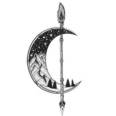 Foto auf Acrylglas Boho-Stil Moon, arrow tattoo Vector illustration. Dot work