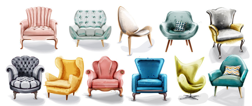 Vintage retro armchair set collection Vector watercolor. Modern style furniture. Old effect designs