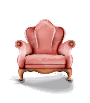 Vintage retro armchair Vector watercolor. Modern style furniture. Old effect designs