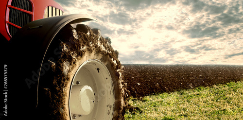 Wall mural Tractor cultivating field. Agriculture and machinery.