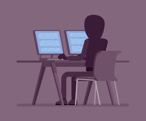 Anonymous man with hidden face at computer. Hacker dark body, covered with hood, online person not identified by name, unknown faceless user with evil intentions. Vector illustration, rear view