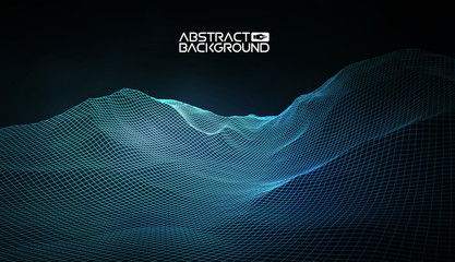 Foto op Plexiglas Zwart Abstract vector wireframe landscape background. Cyberspace grid. 3d technology wireframe vector illustration. Digital wireframe landscape for presentations .