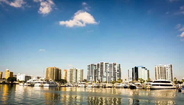 City scape of Sarasota Florida with blue sky