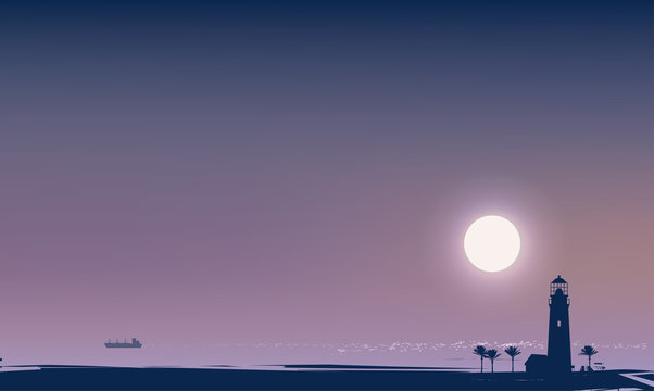 Vector travel banner with a night tropical seascape. Silhouettes of lighthouse, palm trees and white ship in the sea at moonlit night. Summer poster, flyer, invitation, card, background.