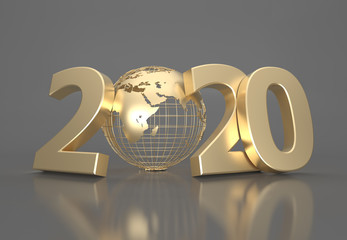 New Year 2020 Creative Design Concept with Earth globe - 3D Rendered Image