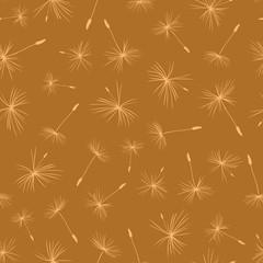 Dandelion seeds on brown background seamless vector pattern