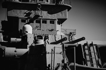 Picture of the gun turret of an old military cruiser.
