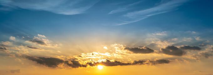 Beautiful orange sunset and a blue sky