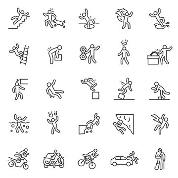 Accident, icon set. Falls, blows, car accidents, work injury, etc. People pictogram. linear icons. Line with editable stroke
