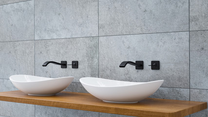 Close up of bathroom vanity basin on a wodden oak top vanity with black water faucet 3D-Illustration