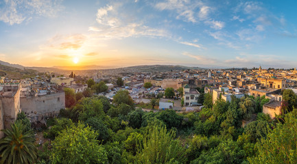 Wall Mural - Panoramic view of Fes at sunset time, Morocco