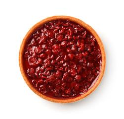 Top view of homemade cherry tart