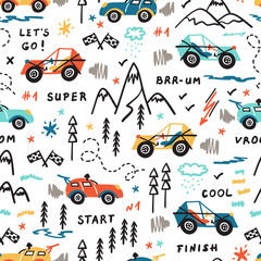 Toy Racing Cars Vector Seamless Pattern with Doodle Buggy Car and Highlands. Cartoon Transportation Background for Kids.