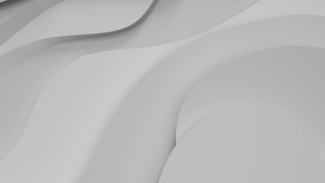 Elegant grey relief. Abstract topographical background. Beautiful fluid design. chaotic ribbons create white flow. 3d illustration