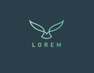 Linear green logo icon bird in flight for a business company minimalism