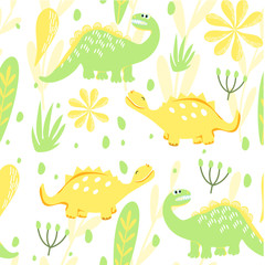 Set of seamless dinosaur patterns and Botanical illustration. Lemon and lime. Dinosaurs walking in a meadow with flowers. For the design of children's clothes, fabrics, cards and books, for comics