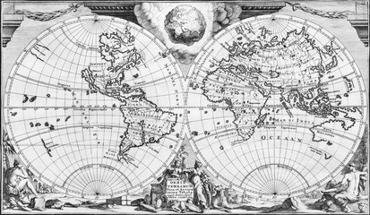 Antique world map of the 18th century, in black and white
