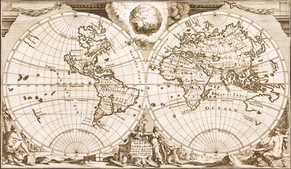 Antique world map of the 18th century, old paper