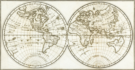Antique world map of the 19th century and the old type