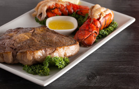 Dinner of Surf and Turf of Steak and Lobster Tails