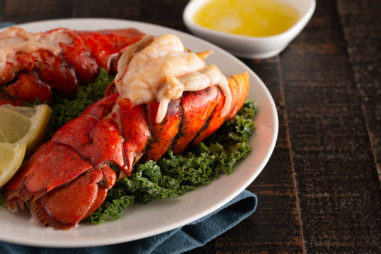 Broiled Lobster Tails on a Bed of Kale with Lemon Slices