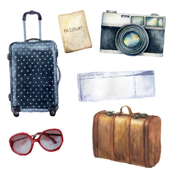 Watercolor travel set. Hand painted tourist objects set including passport, ticket, leather vintage suitcase, polka dot baggage, camera and sunglasses isolated on white background for design, print.