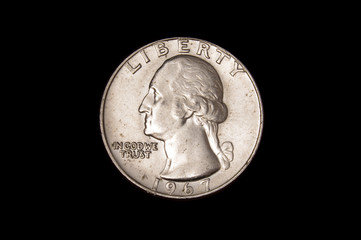 Shinny quarter dollar coin of United States of America USA isolated on the dark background Fototapete