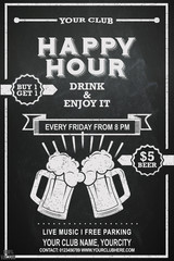 Beer Happy hour flyer design on chalkboard. Beautiful greeting card poster with beer mug and lettering. Hand drawn, design elements. It can be useful whether it is a specific show, club event.