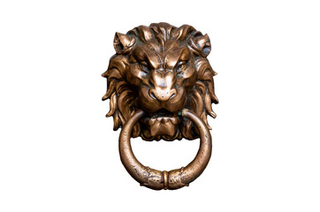 lion head doorknocker isolated on white background Wall mural